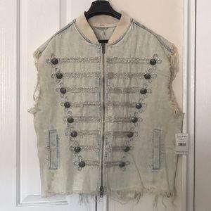 NWT free people denim sleeveless jacket sz M/L